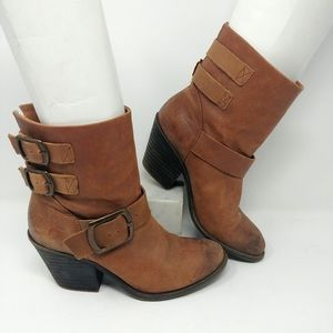 Lucky brand strap leather booties